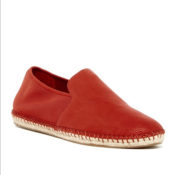 Eileen Fisher Red Flit Leather Espadrille Flats